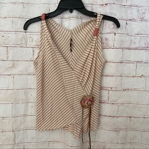Rozae Nichols Womens Cream Small Striped Top .